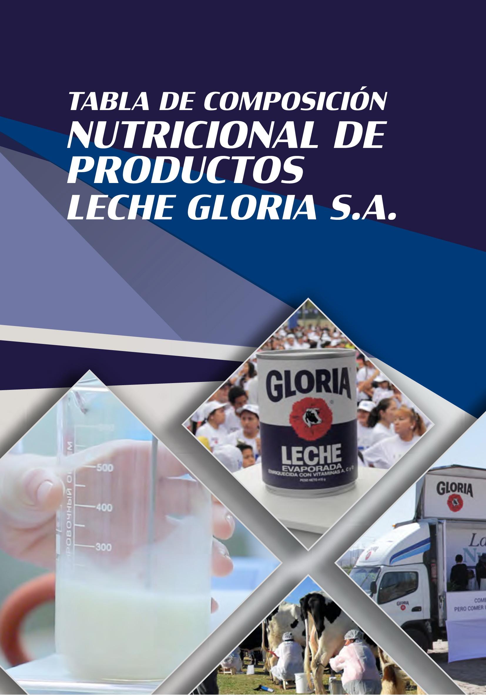 Tabla de Composición Nutricional de Productos Leche Gloria S.A.